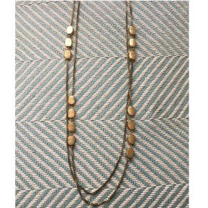 H&M Brushed Gold Tone Long Necklace